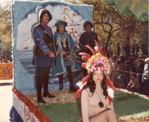 Margarita Madera and three men on a float. Source: Dominican Studies Institute. CUNY. The Margarita Madera Collection, ca. 1970-2003. Box 4. Folder 12.