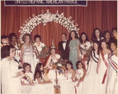Contestants at the United Hispanic American Parade / Desfile de la Raza Beauty Pageant.  Source:  Dominican Studies Institute, New York (N.Y.). The Margarita Madera Collection, ca. 1970-2003. Box 3, Folder 22.