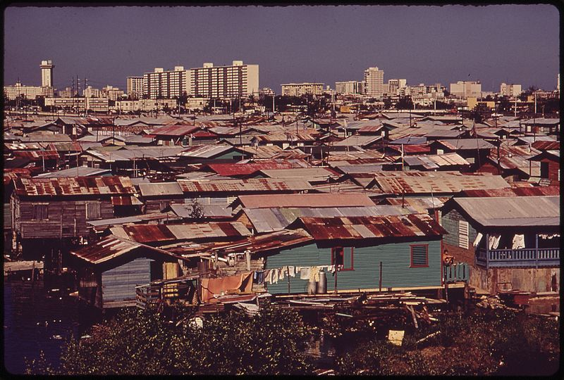 Shanty towns in San Juan, Puerto Rico circa 1970s. Photo: Ken Heyman and John Vachon for the Environmental Protection Agency. Source: Wikipedia