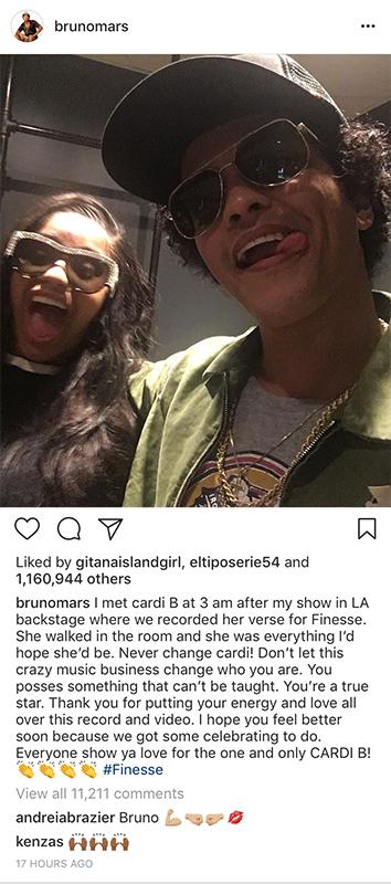Cardi B and Bruno Mars/ Source:  Bruno Mars Instagram
