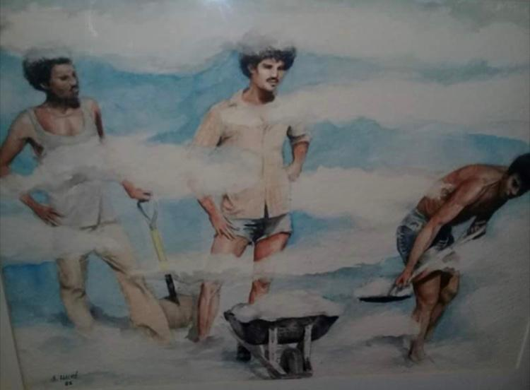 """A detail from """"Obreros recogiendo nubes"""" [Workers Collecting Clouds] by Dominican painter Ángel Haché.  Source : Elsa Núñez's Facebook wall"""