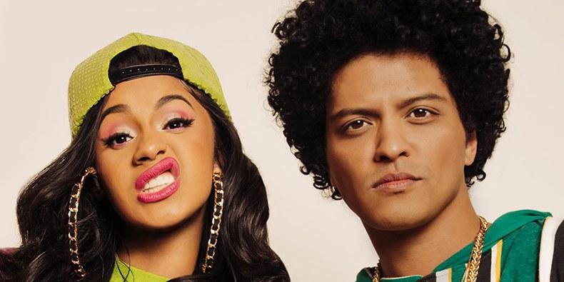 Cardi B junto a Bruno Mars.
