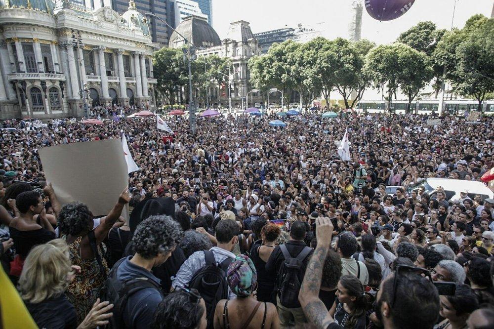 Protesters in Brazil demand justice for Marielle Franco. Photo: Midia Ninja via  PSOL
