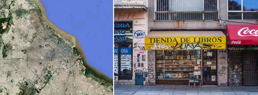 Mapa de relevamiento / tiendas de libros usados visitadas en la ciudad de Buenos Aires. [Texto e imagenes cortesia de Daniel Infante.]