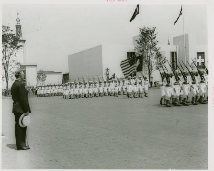 "Dominican Dictator   Rafael Leónidas Trujillo reviewing troops.  Source:  Manuscripts and Archives Division,  The New York Public Library . ""Dominican Republic Participation - Reviewing troops""  The New York Public Library Digital Collections . 1935 - 1945."