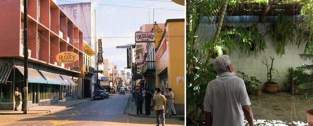 A la derecha fotografía del edificio Roxy en la Calle El Conde. A la izquierda Casa de Batista, fotografía de José Rozón.