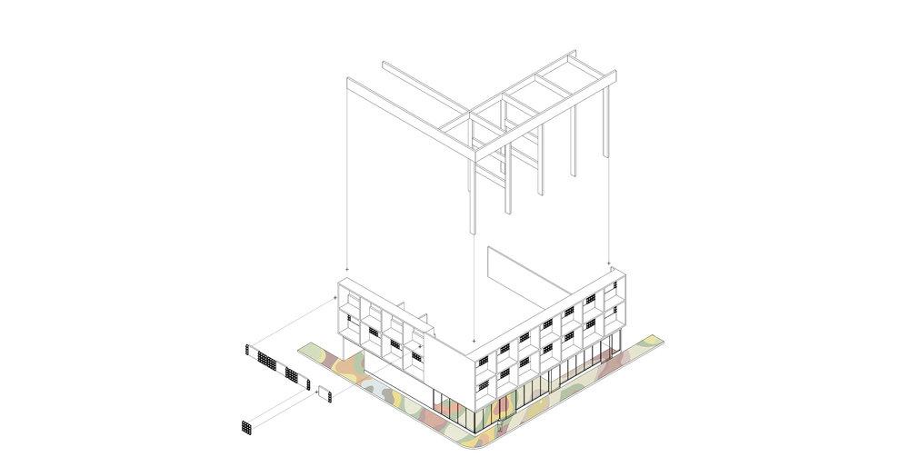 Despiece de estructura y cerramiento, edificio El Roxy. Imagen de proceso. Fuente: Arq. Daniel Infante.