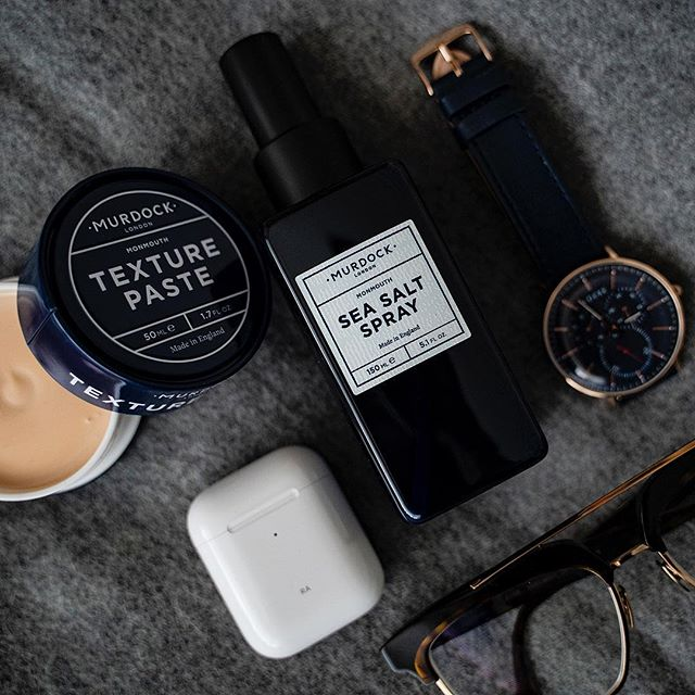 AD | Murdock Texture Paste and Sea Salt Spray are the perfect combination to keep your hair routine in order. @murdocklondon  #murdocklondon #hairroutine #flatlay #essentials ————————————————— #lfwm #lfw #dapper #timepiece #menwithstyle #streetstyle #style #sartorial #gentlemen #attire #outfit #wednesday #humpday #sikh #indian #stylish #lifestyle #airpods #bokeh #photography #menwithclass