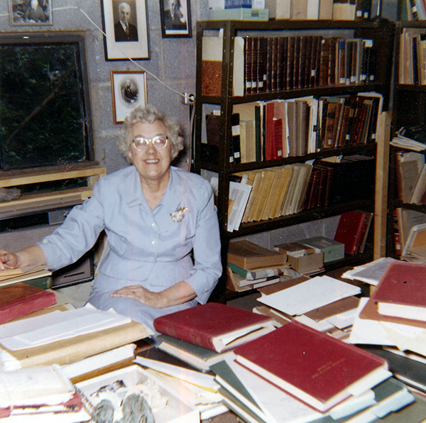 Katherine Palmer in her office at the Paleontological Research Institution in 1960.