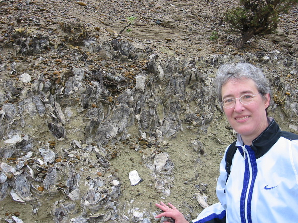 Kelley with a fossil oyster reef in Patagonia.