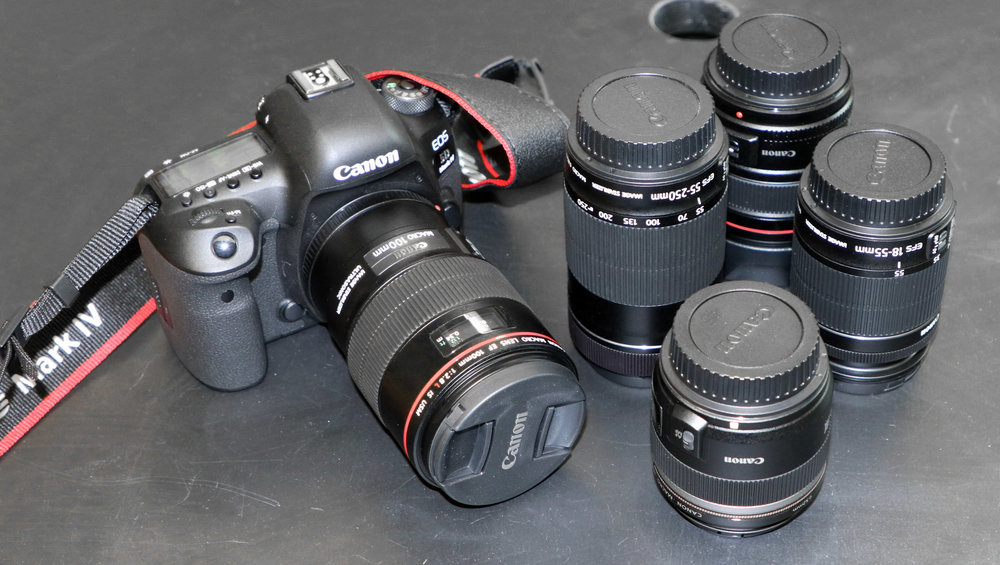 Canon EOS 5D Mark IV and lenses.