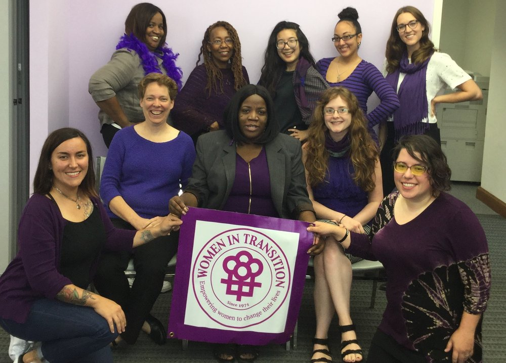 The WIT staff taking a picture for #PaintPhillyPurple 2018