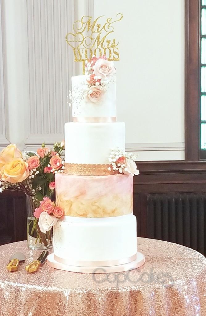 Marbled rose gold wedding cake