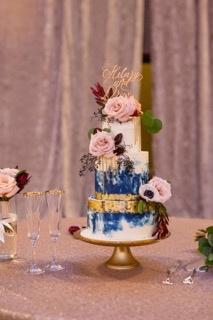 Blue Marble Gold Leaf Cake