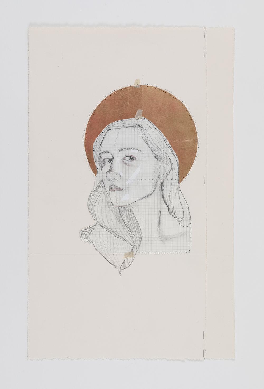 Self Portrait , Mixed Media on Paper, 23x14, 2018