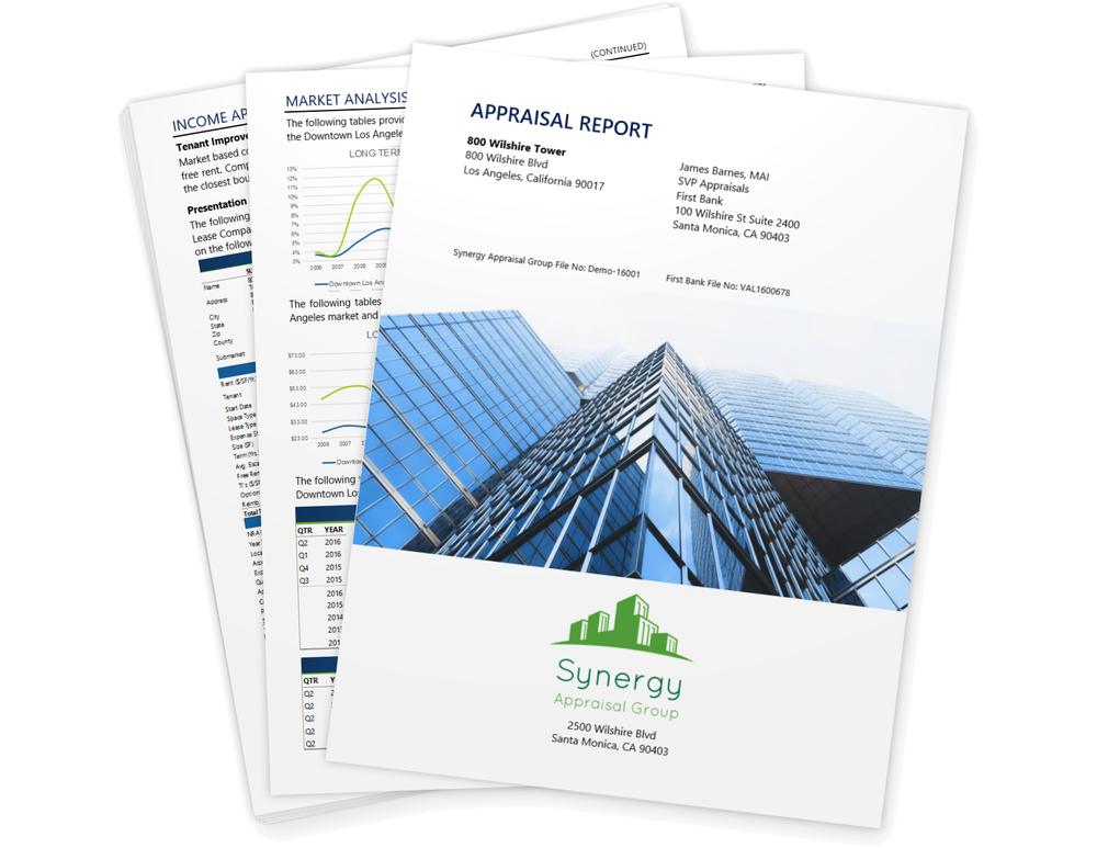 CRE appraisal report with charts