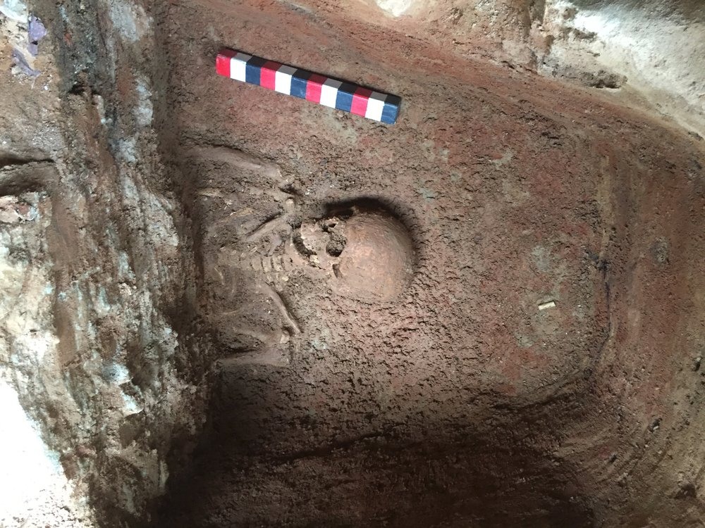 The above burial was uncovered in 2016 during the preservation project to underpin the foundation of St. John's Church. The remains were removed and sent to Dr. Owsley and his team at the Smithsonian for study.