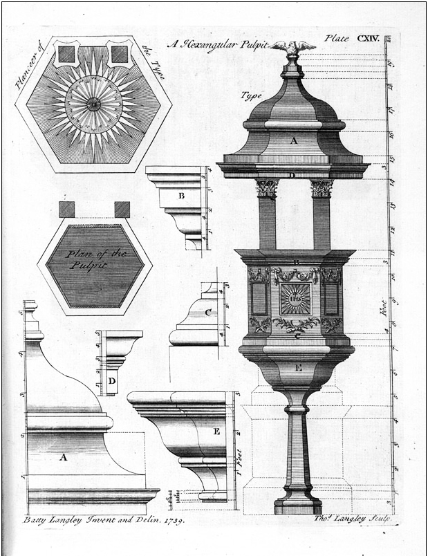 Plate CXIV from Batty Langley's The City and Country Buiilder's and Workman's Treasury of Designs, first published in 1740.