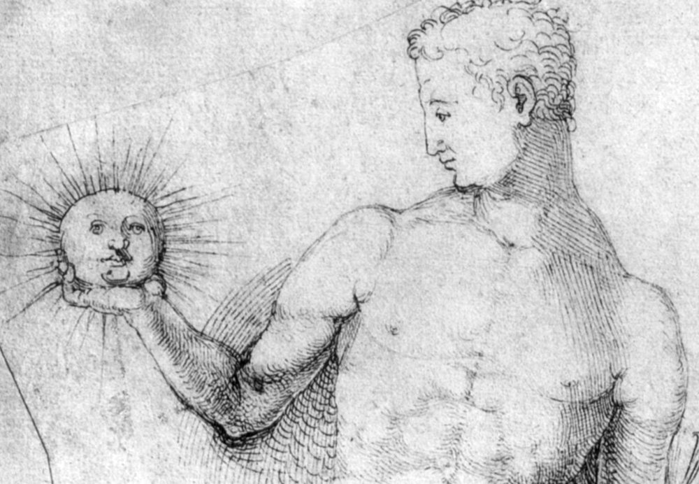 Detail of pen and ink drawing by Albrecht Durer, 1500- 1502, showing Apollo holding an anthropomorphic sun.