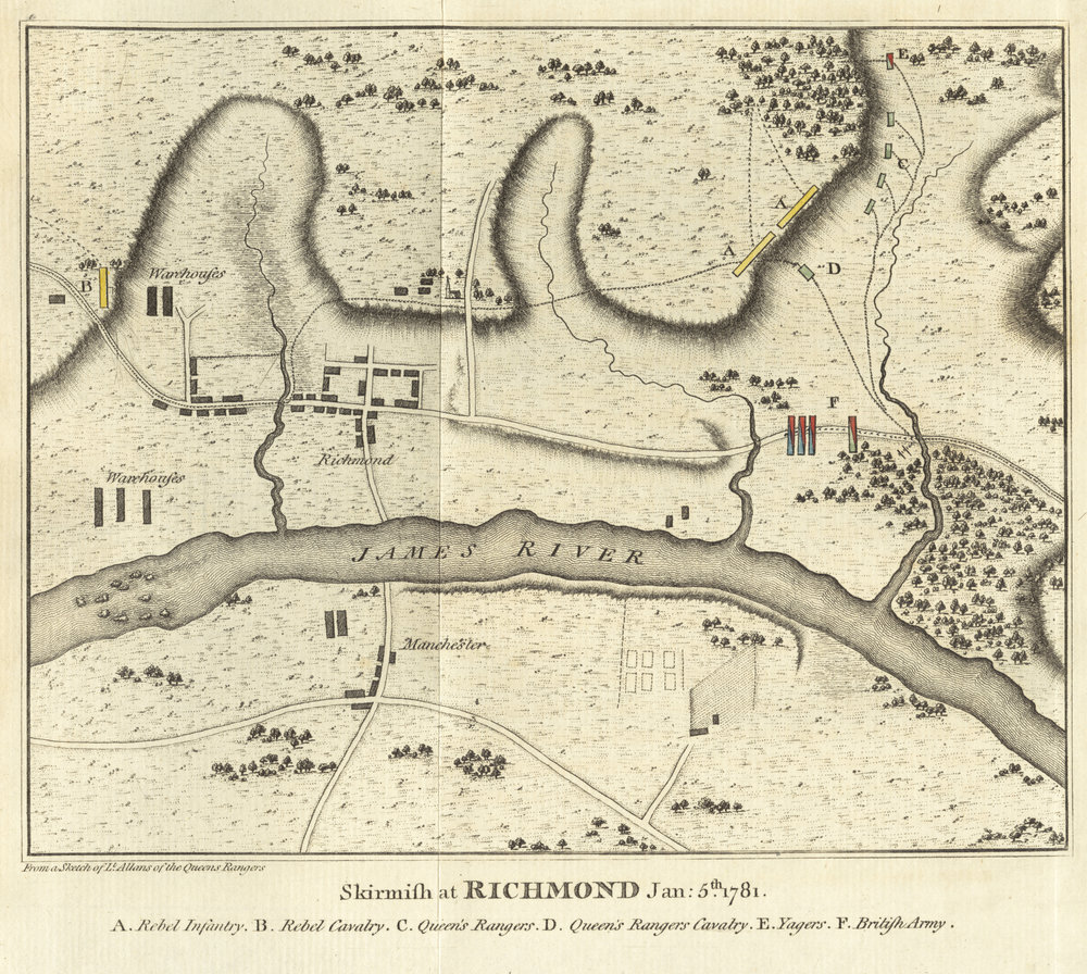 British map of the attack on Richmond, January 5th 1781