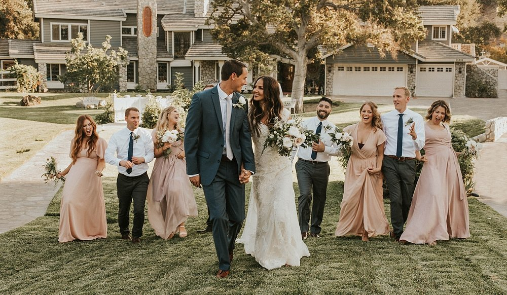The bridal party together santa clarita estate wedding