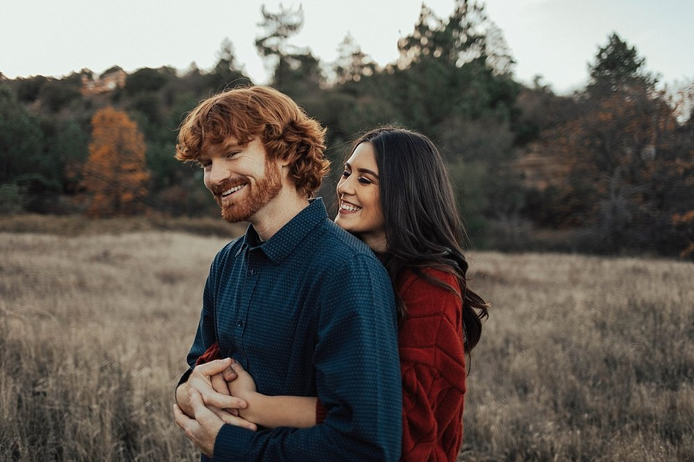 cozy fall engagement in the mountains