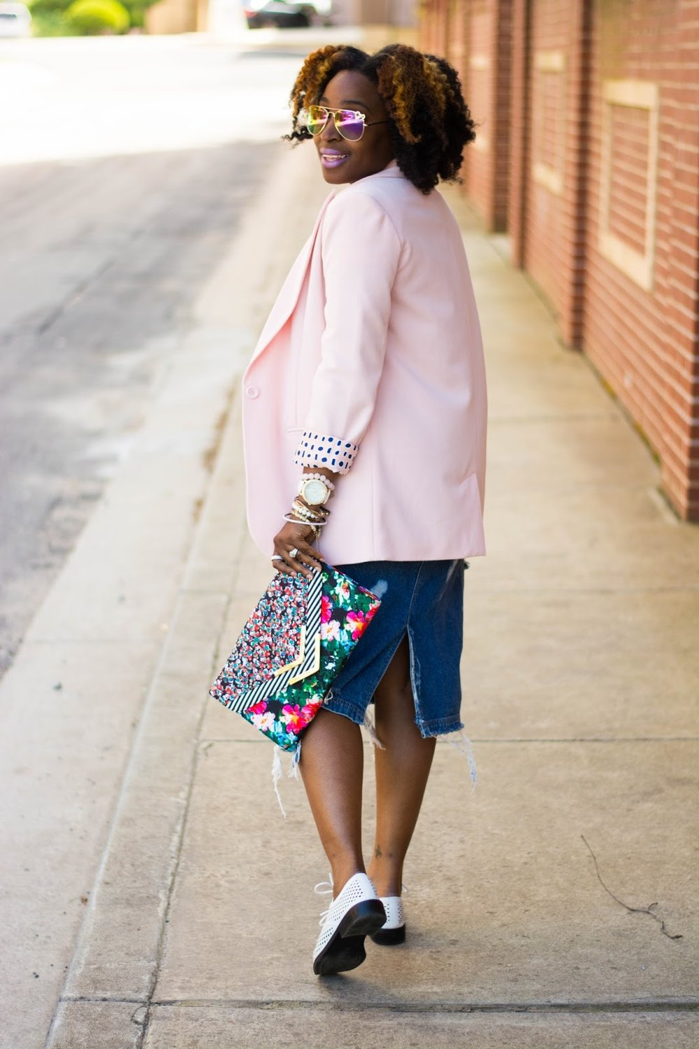 Atlanta blogger, Atlanta style blogger, blogger, street style, Atlanta Style, Thrifted fashion, black girls killing it, black blogger, brown girls, black girls killing it, forever21 style, Icing watch, Charlotte Russe style, White oxfords, pink blazer, DIY fashion, DIY skirt, distressed denim, Style influencer, Atlanta influencer, Aldo, mixed prints, floral clutch
