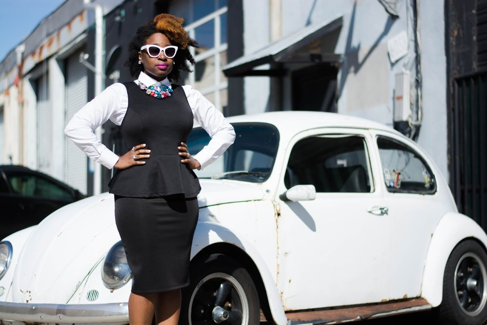 Atlanta style blogger, Atlanta Stylist, Atlanta blogger, Street Style, JcPenney, Charlotte Russe, Forever21, Black and white, Peplum, Statement necklace, Stripe pumps, Style blogger, Black Girls Killing It, Natural girl rock, Black girls rock, Natural fashion, Black blogger, Brown girls, Atlanta street fashion, Petite fashion