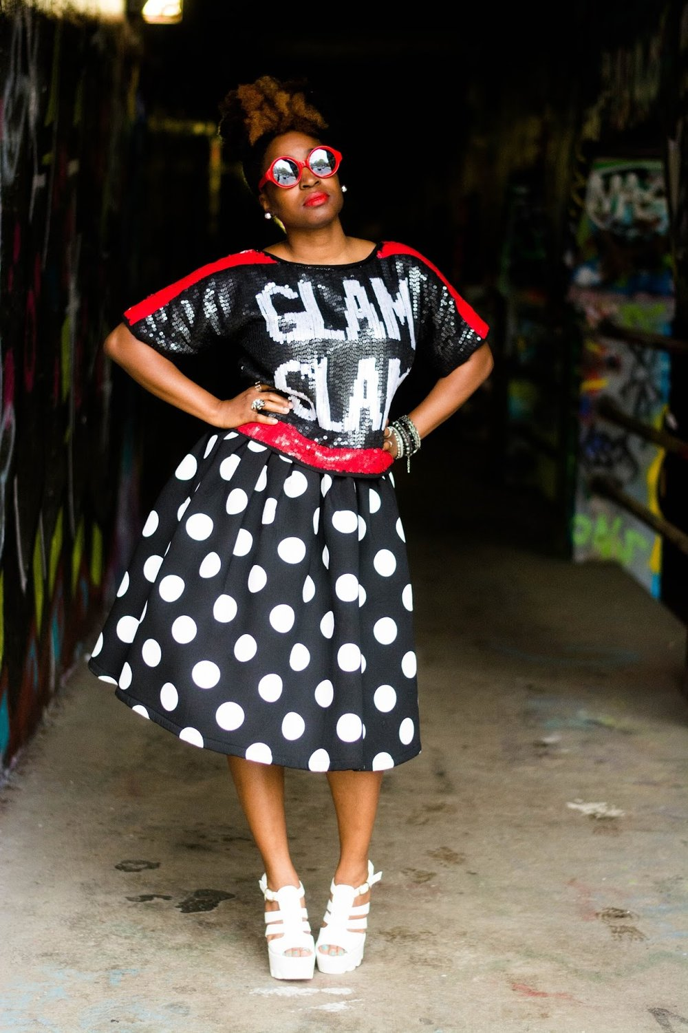 Atlanta style blogger, Atlanta blogger, Atlanta stylist, Wardrobe stylist, street style, black girls rock, black girls killing it, Charlotte Russe Shoes, Diva Diva Boutique, Plato's Closet, Polka dot skirt, Sequin top, Street fashion, black and white, Natural girls rock, Natural hair, Black bloggers, Red sunnies, Thrifted fashion, Thrifting Atlanta, Atlanta fashion, Style blogger, Fashion blogger