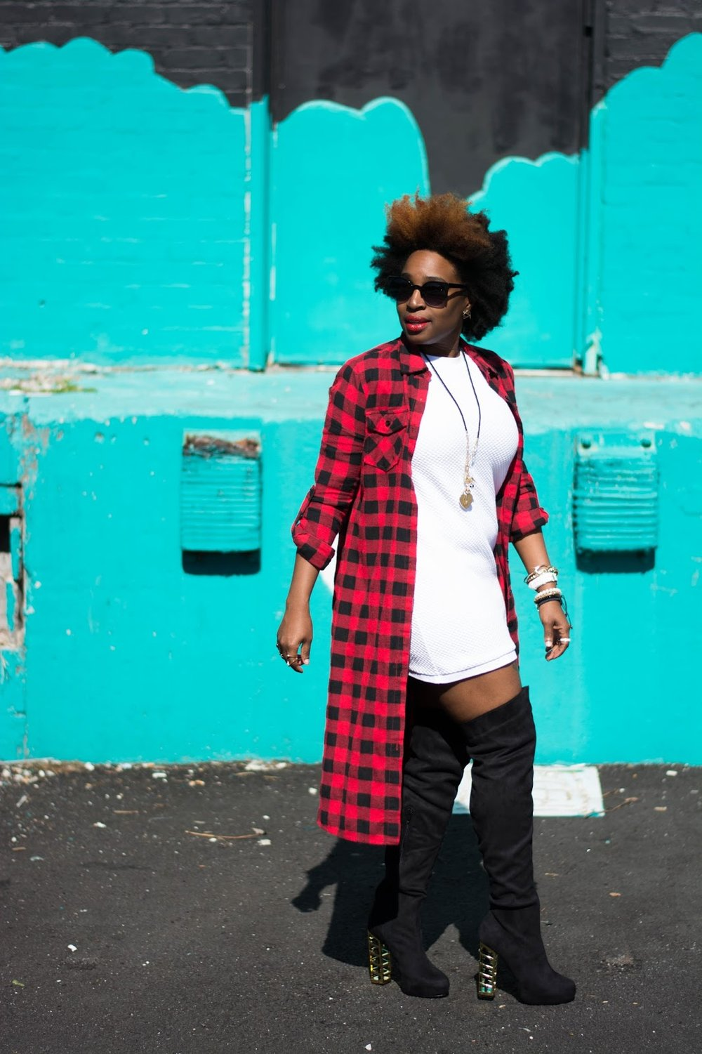 Atlanta blogger, style blogger, Atlanta style blogger, black girl killing it, flannel duster, white dress, OTK boots, black boots, street style, blogger style