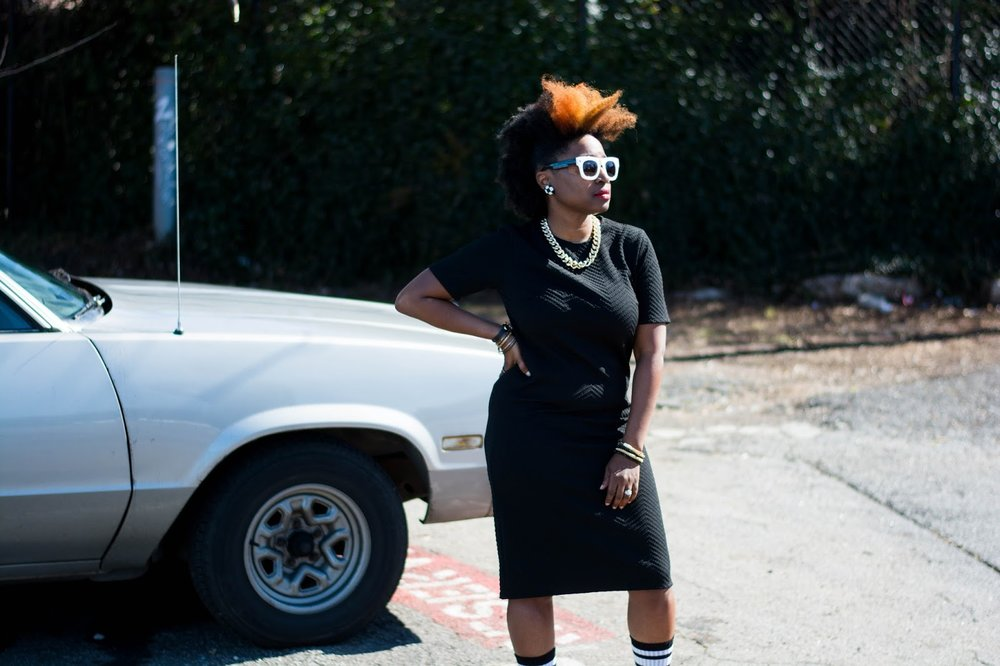 black dress, white sneakers, gold accessories, black white sunglasses, forever21, street style, natural hair fashion, Atlanta Stylist, Style blogger, Atlanta blogger, athleisure, Black blogger, black girl magic, street fashion
