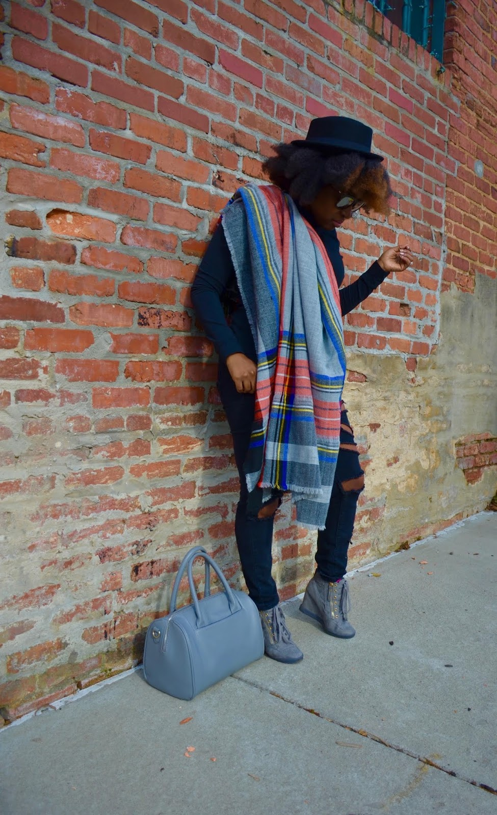 Atlanta style blogger, style blogger, Atlanta blogger, diy jeans, distressed jeans, turtleneck, grey handbag, forever21, grey sneakers, blanket scarf, fedora hat, street style, street fashion, Atlanta stylist