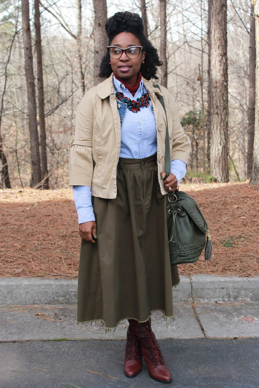 Atlanta blogger, style blogger, Atlanta Style Blogger, Olive skirt, mini trench, turtle neck, denim vest, statement necklace, burgundy boots, crossbody handbag, natural hair, black girl magic, black girl fashion, trendy work wear, Thrifting Atlanta