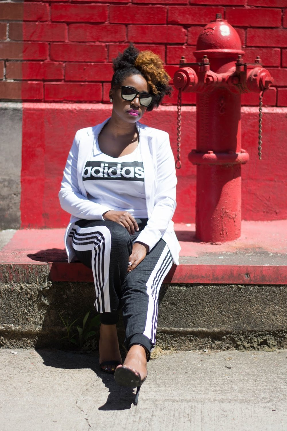 Atlanta style blogger, Atlanta street style, Street Style, Atlanta blogger, Black blogger, Black girls rock, Natural hair fashion, White blazer, Forever21, Adidas joggers, Athleisure street style, Charlotte Russe, Style blogger, Black and White, Atlanta influencer, Style influencer, Instyle, People style watch, Black girls killing it, Black fashion blogger, Atlanta style, Personal style, Atlanta stylist