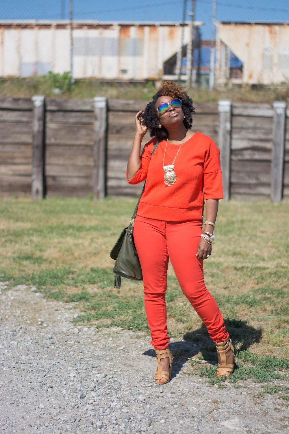 Atlanta stylist, atlanta blogger, black blogger, black girls rock, monochrome, orange fashion, atlanta street style, mirrored glasses, charlotte russe sandals, shoedazzle handbag, handbag with tassle, natural hair fashion, atlanta street style, atlanta style influencer, forever21 accessories, style blogger, black girl killing it