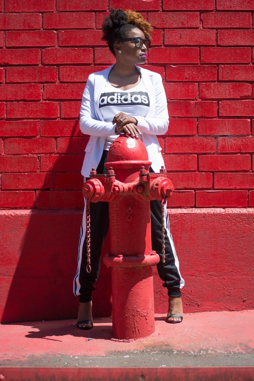 Atlanta style blogger, Atlanta street style, Street Style, Atlanta blogger, Black blogger, Black girls rock, Natural hair fashion, White blazer, Forever21, Adidas joggers, Athleisure street style, Charlotte Russe, Style blogger, Black and White, Atlanta influencer, Style influencer, Instyle, People style watch, Black girls killing it, Black fashion blogger, Atlanta style, Personal style, Atlanta stylist