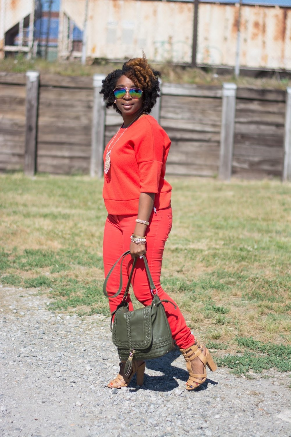 Atlanta stylist, atlanta blogger, black blogger, black girls rock, monochrome, orange fashion, atlanta street style, mirrored glasses, charlotte russe sandals, shoedazzle handbag, handbag with tassle, natural hair fashion, atlanta street style, atlanta style influencer, forever21 accessories, style blogger, black girl killing it, gold accessories, thrifted fashion, thrifting atlanta, thrift style