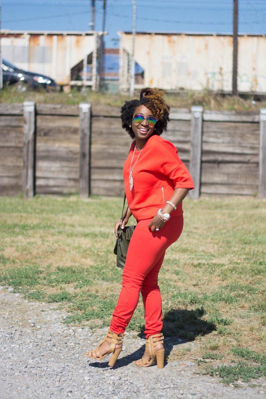 Atlanta stylist, atlanta blogger, black blogger, black girls rock, monochrome, orange fashion, atlanta street style, mirrored glasses, charlotte russe sandals, shoedazzle handbag, handbag with tassle, natural hair fashion, atlanta street style, atlanta style influencer, forever21 accessories, style blogger, black girl killing it, gold accessories, thrifted fashion, thrifting atlanta, thrift style