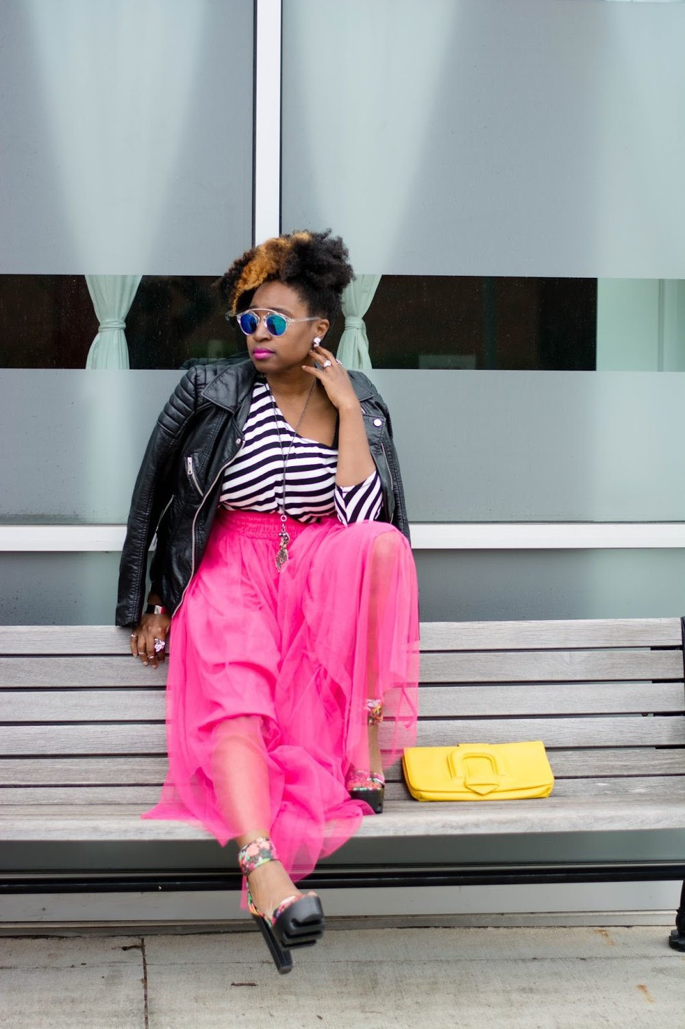Atlanta Influence, Atlanta stylist, Style blogger, black blogger, natural girls rock, Black girls rock, natural hair, street style, Atlanta street fashion, Style blogger, black and white stripes, pink tulle, mixed prints, mirror sunnies, thrifted fashion, hm moto jacket, leather in the summer, black girls killing it, Stylist, natural hair, yellow clutch, shoedazzle, platforms