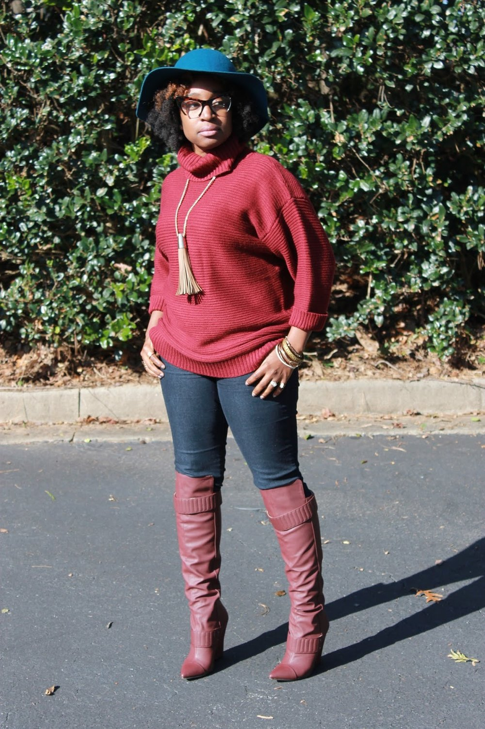 Atlanta blogger, style blogger, Atlanta style blogger, Black girls killing it, Burgundy boots, Bordeaux sweater, ShoeDazzle, Turquoise Hat, winter wear, street style, fringe necklace, oversized handbags, floppy hat, over the knee boots