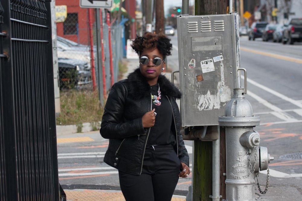 Atlanta style blogger, style blogger, Atlanta blogger, all black, silver oxfords, black girls killing it, Target style, black girl fashion, black moto jacket, mens inspired, natural girls rock
