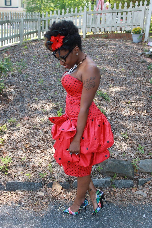 Atlanta style blogger, style blogger, blogger, Atlanta blogger, street style, vintage fashion, polka dot dress, peplum dress, vintage, mixed prints, high tea party