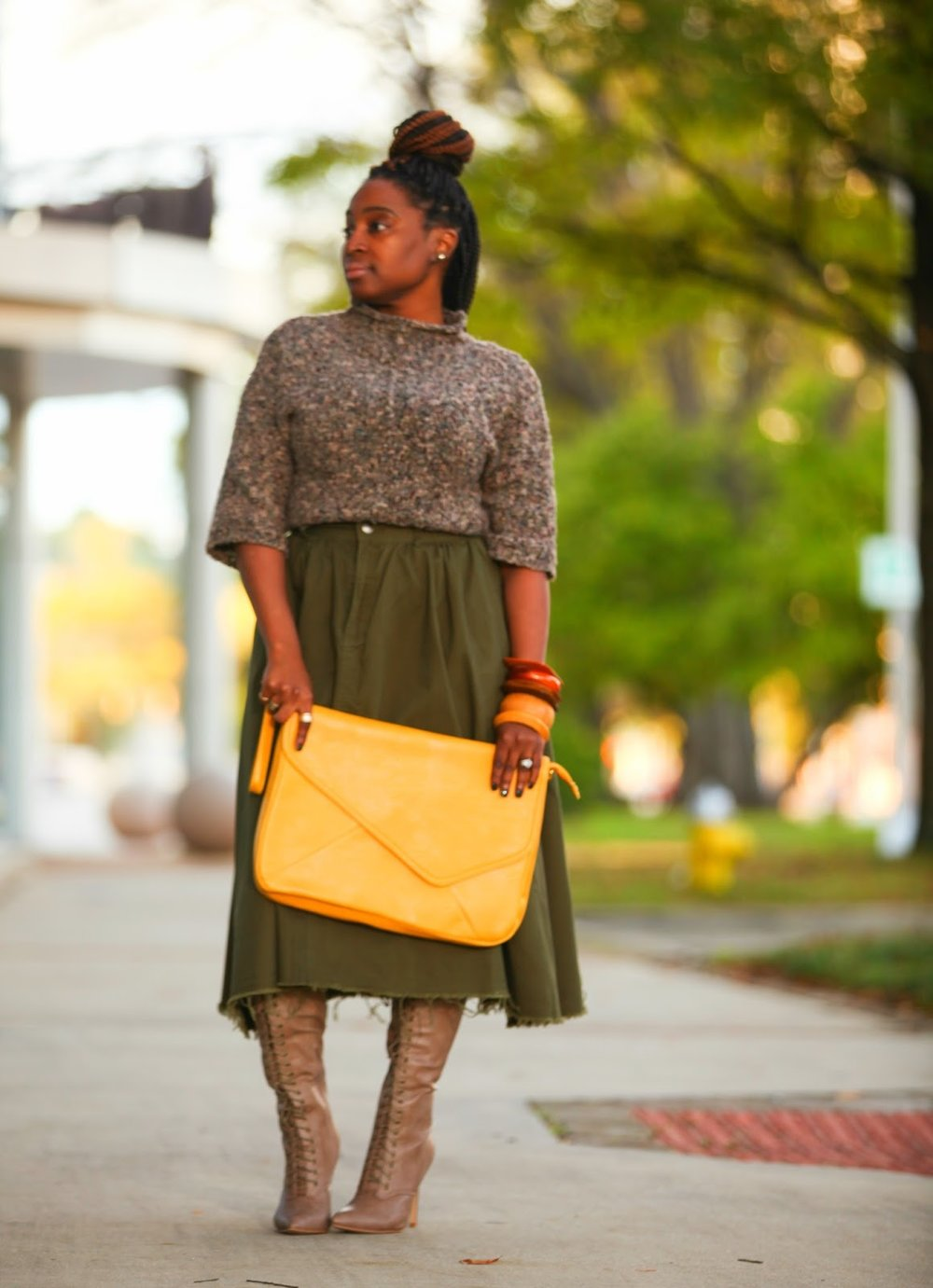 Atlanta style blogger, style blogger, Atlanta blogger, Olive Skirt, Oversized Clutch