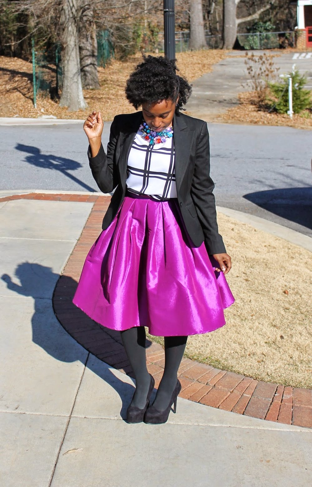Atlanta style blogger, style blogger, Atlanta blogger, street style, mixed prints, purple midi skirt, black blazer, windowpane print shirt