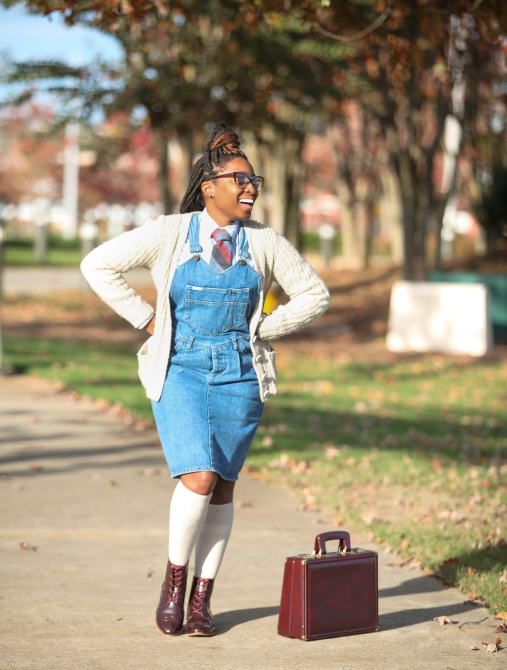 Atlanta style blogger, style blogger, blogger, Atlanta blogger, street style, denim overalls, mens inspired looks, long socks, oxfords for women