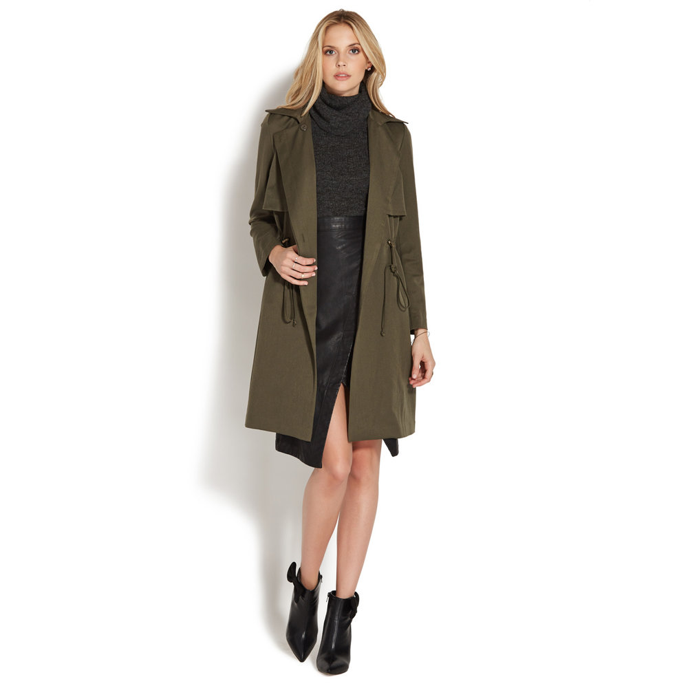 Olive Long Trench
