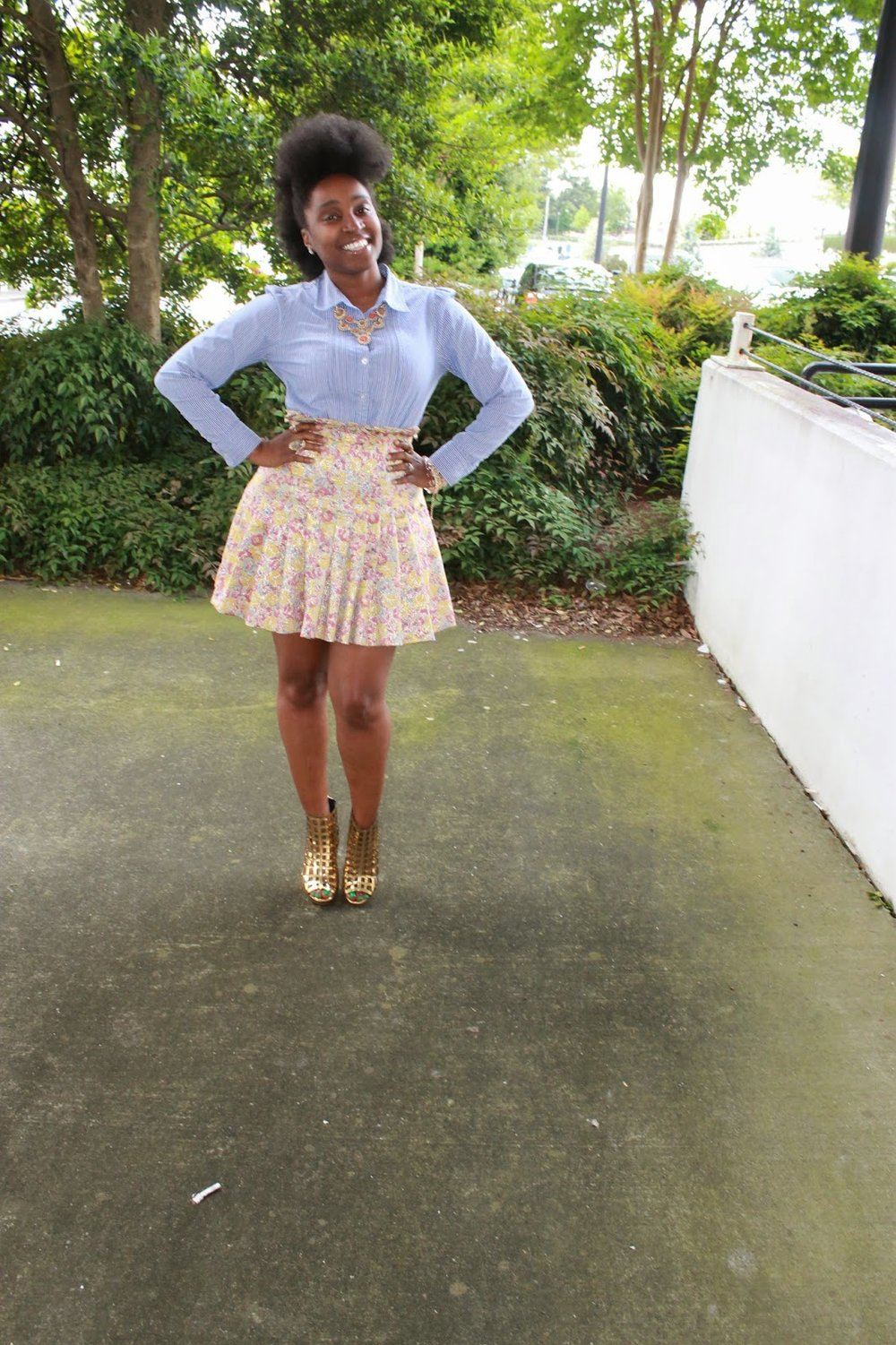 Atlanta style blogger, style blogger, Atlanta blogger, street style, mini skirt, mixed prints, gold shoes