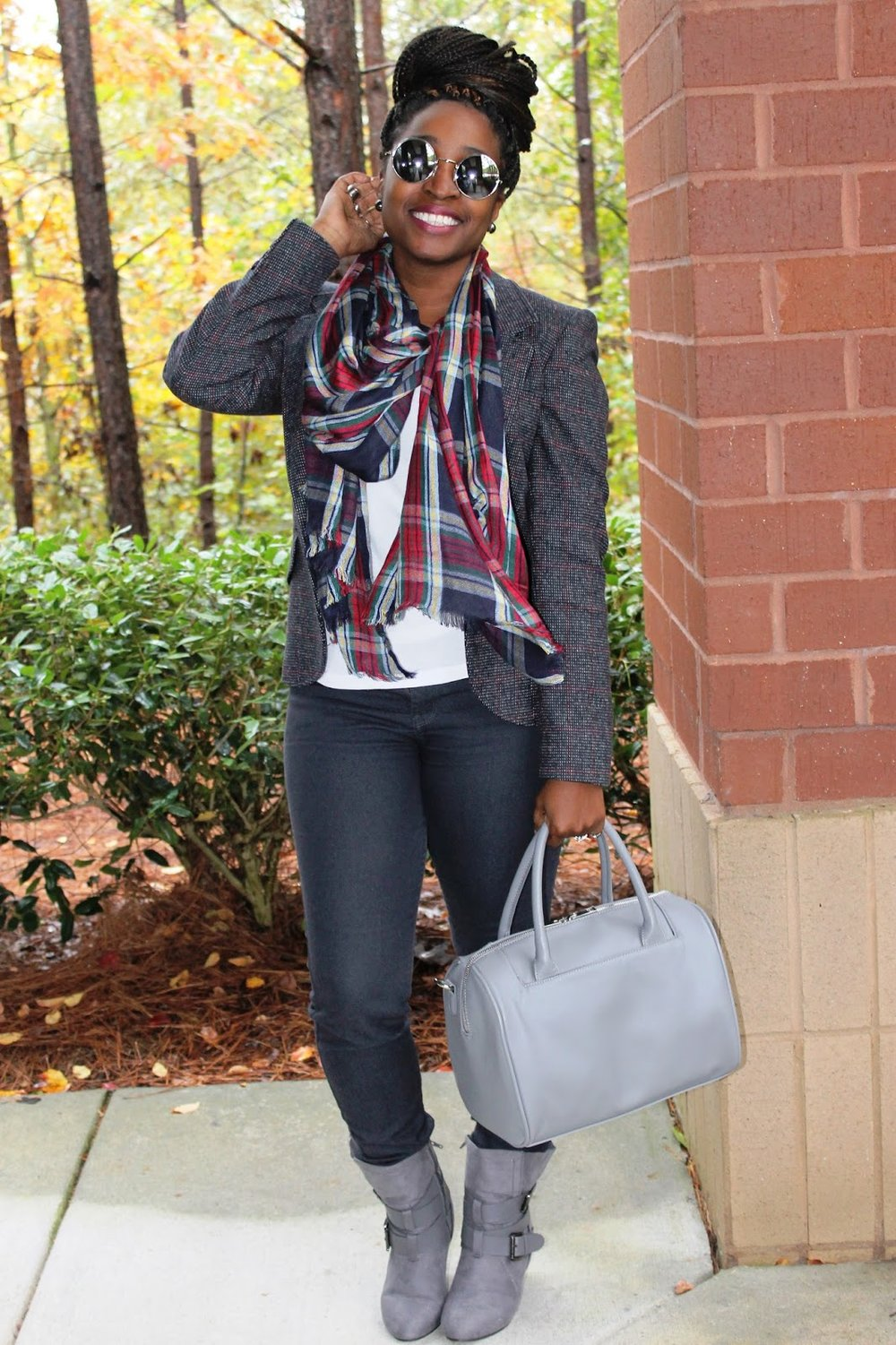 Atlanta style blogger, Street Style, work wear, grey boots, Atlanta blogger, style blogger, blogger, plaid scarf