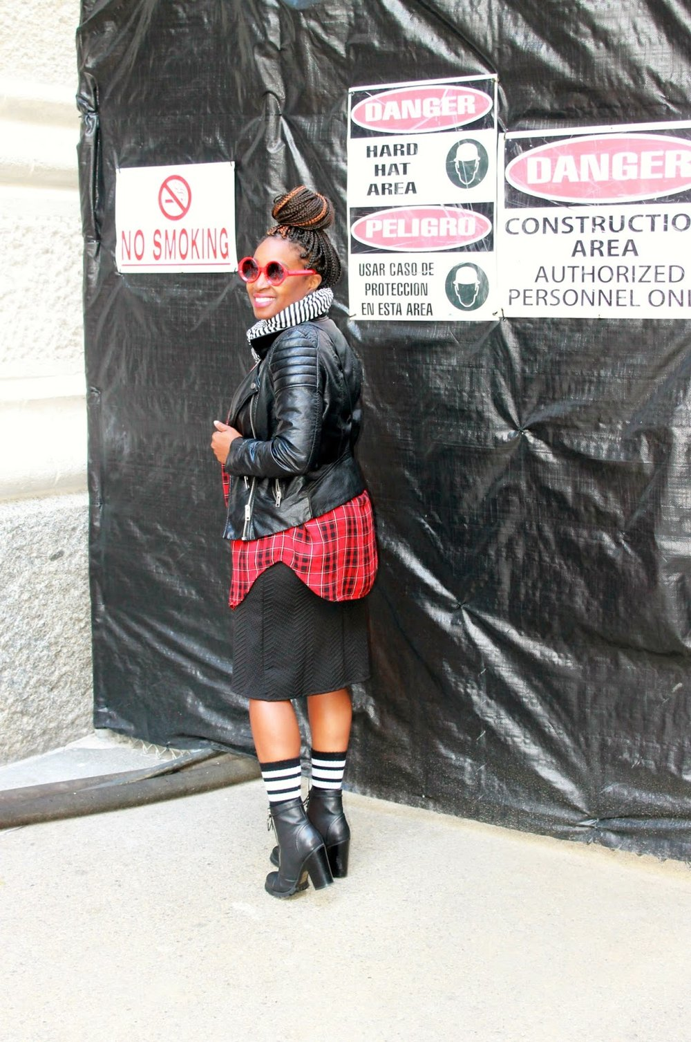 Atlanta style blogger, Street Style, work wear, grey boots, Atlanta blogger, style blogger, blogger, plaid shirt, black dress, moto jacket, layered styling, socks and boots, mixed prints