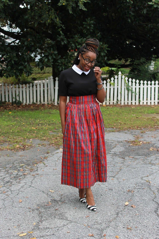 Atlanta style blogger, Street Style, Atlanta blogger, style blogger, blogger, tartan print skirt, mixed prints, black and white top, striped shoes